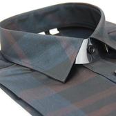 【金‧安德森】黑底寬條紋亮面壓光窄版長袖襯衫