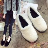 豆豆鞋女百搭加絨棉鞋秋鞋秋冬季外穿一腳蹬毛毛鞋【聚可愛】