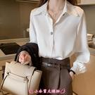 長袖襯衫 襯衫女長袖冬季外穿寬鬆百搭職業白襯衣打底上衣 - 小衣里大購物