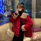 冬季新款復古港風海軍領設計感燈芯絨寬鬆加厚長袖外套女學生 雅楓居