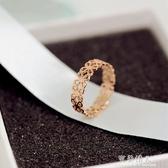 韓版時尚鈦鋼鍍18K玫瑰金鏤空花朵戒指尾戒女食指指環韓國J058  【快速出貨】