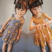 兒童上衣 女童2019夏季新韓版葉連衣裙韓版兒童休閑風碎花裙寶寶裙子4302