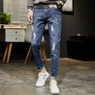 J男士牛仔褲破洞休閒乞丐藍色簡約百搭彈力修身小腳男長褲M821
