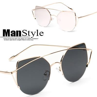 任選2件388太陽眼鏡圓形復古幾何金屬貓眼太陽眼鏡墨鏡【09J0038】