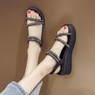 楔形鞋 涼鞋女仙女風2021夏季新款坡跟厚底水鉆網紅時尚超火羅馬鞋ins潮 韓國時尚 618