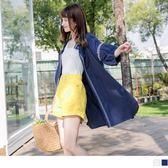 《EA2662-》高含棉圖騰刺繡綁帶開襟長版罩衫/外套 OB嚴選