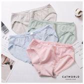 Catworld 粉彩條紋無縫莫代爾低腰內褲【18801575】‧F