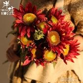 向日葵仿真花13頭假花太陽花束干花客廳擺件絹布家居裝飾 布衣潮人