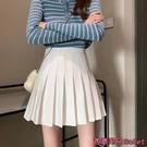 百褶裙 白色百褶裙女春夏新款時尚小個子包臀短裙高腰顯瘦a字半身裙-Ballet朵朵