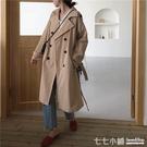 2019秋裝韓版寬鬆翻領雙排扣風衣外套女復古氣質中長款大衣開衫