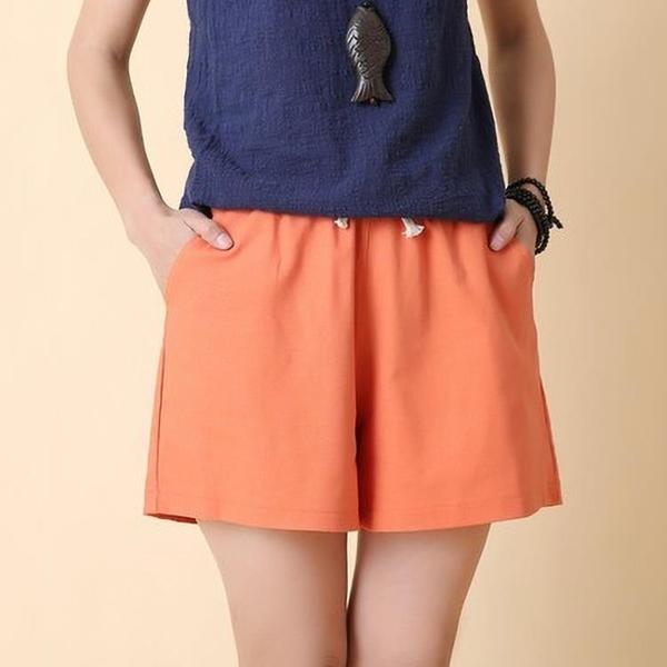 棉麻短褲 棉麻短褲女裝夏季寬鬆大碼亞麻中褲五分褲闊腿休閒褲運動褲子熱褲