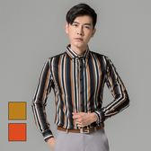男 設計款/直條紋/長袖襯衫 L AME CHIC 撞色粗細條紋長袖襯衫【FTLS092705】