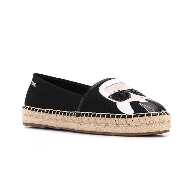 Karl Lagerfeld 卡爾 老佛爺 鞋  KAMINI Q版草編鞋-黑