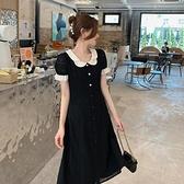 小洋裝 連身裙好質量夏季法式花瓣領赫本風拼接中長復古黑色連身裙FFA027依佳衣
