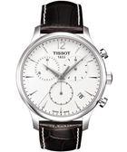 【僾瑪精品】TISSOT TRADITION 復刻計時腕錶-白(咖啡皮表帶)  T0636171603700