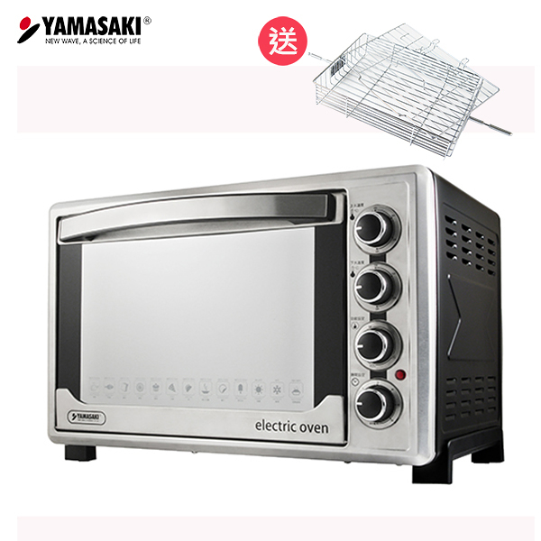 【預購8/10出貨】(輸碼再折)山崎45L不鏽鋼三溫控烘焙全能電烤箱SK-4590RHS(贈方形烤網+3D旋轉烤籠)