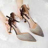 2019新款涼鞋子女夏一字扣帶低筒中空高跟鞋細跟磨砂尖頭韓版百搭少女 GD156 『科炫3C』