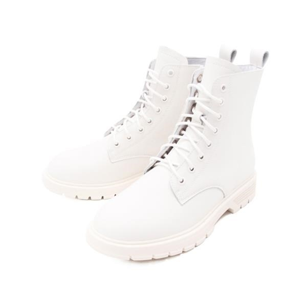 【南紡購物中心】WALKING ZONE(女) 馬汀軟皮中筒靴 女鞋 - 白 (另有黑)