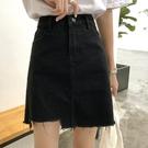 夏季裙子新款超火黑色牛仔裙短裙A字裙
