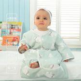 嬰兒紗布睡袋春秋薄款純棉四季新生兒寶寶睡袋秋冬兒童空調防踢被igo   易家樂