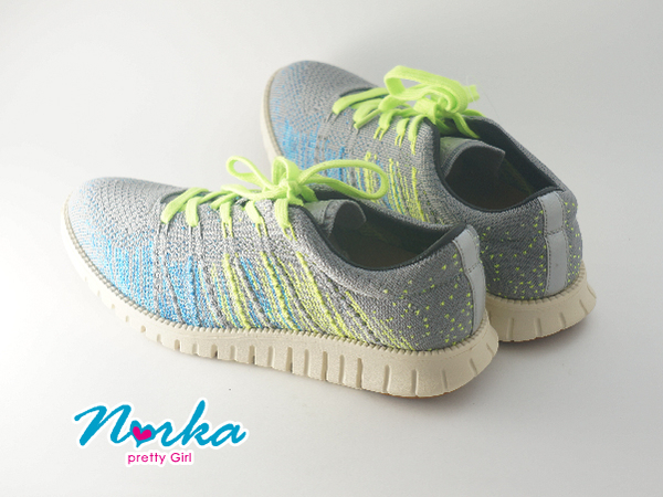 Norka 時尚針織綁帶休閒鞋 女款 灰色