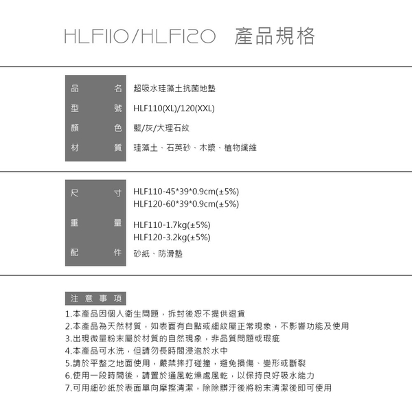 DIKE 第四代無毒珪藻土地墊-XXL(大39x60cm)HLF120GY/BU 通過SGS檢驗