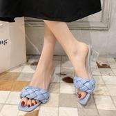 韓版方頭涼拖鞋女夏外穿新款百搭一字拖鞋時尚高跟涼拖鞋女潮