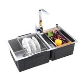 廚房304不銹鋼雙槽套餐 壹體成型加厚拉絲 洗菜盆洗碗池 熊熊物語