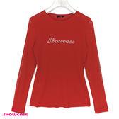 【SHOWCASE】草寫LOCO鑽輕薄透膚內搭衣(紅)
