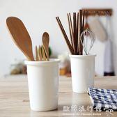 筷子筒  日式陶瓷筷子筒家用竹架雙筒瀝水筷籠廚房置物筷子架筷子盒 『 歐韓流行館』