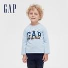 Gap男幼童 LOGO史努比印花圓領長袖T恤 627426-淺藍色