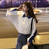 雙12購物狂歡- 秋季韓版撞色字母bf風顯瘦寬鬆撞色長袖T恤學生Polo領體恤上衣女交換禮物