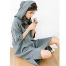 VK精品服飾 韓國風INS寬鬆廓形連帽休閒短袖洋裝