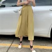 夏季新款韓版純色氣質百搭顯瘦學生傘裙中長款A字半身裙女潮