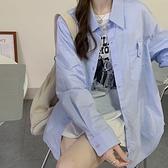 襯衫外套 bf寬鬆設計感小眾外穿藍色襯衫上衣女裝早秋韓版長袖防曬襯衣外套  伊蘿