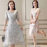 深依度新品裝新款大尺碼女裝長裙子中袖印花雪紡洋裝(S-XL)3色可選 最後一天85折