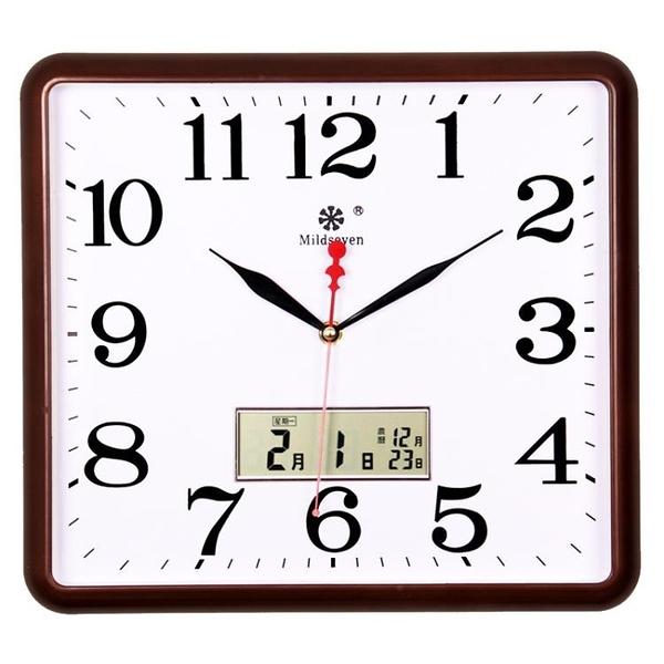 時鐘 方形電子掛鐘客廳靜音鐘表家用個性創意時尚藝術萬年日歷石英鐘大 萬寶屋