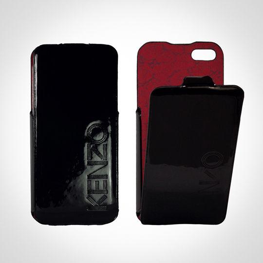 KENZO Glossy系列 iPhone5/5S 亮面皮革保護套 - Glossy Black