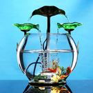 魚缸水族箱桌面創意小型迷妳圓形懶人免換水生態玻璃流水金魚缸 MKS極速出貨
