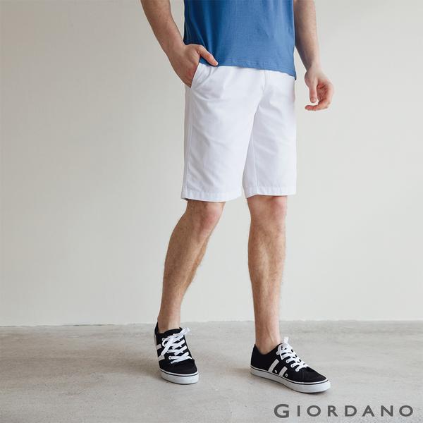 【GIORDANO】男裝天然棉休閒短褲 - 01 標誌白