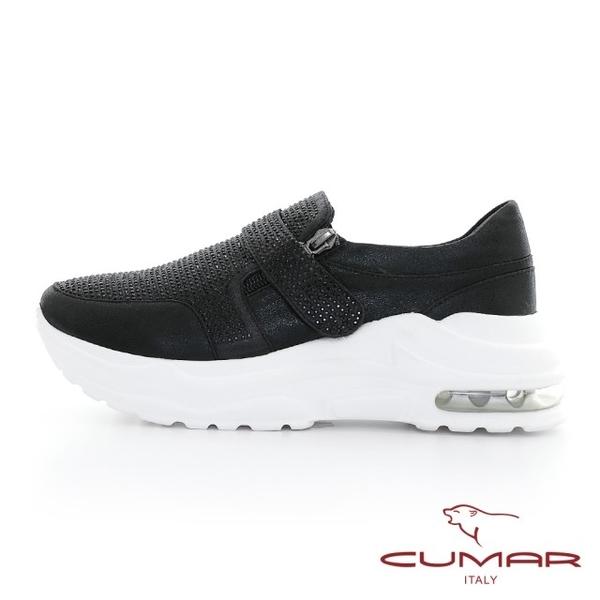 【CUMAR】金屬色調滿鑽厚底休閒鞋(黑色)