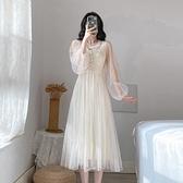 仙女裙長款超仙初念裙子女夏季氣質白色禮服網紗連身裙2021新款春 嬡孕哺 免運