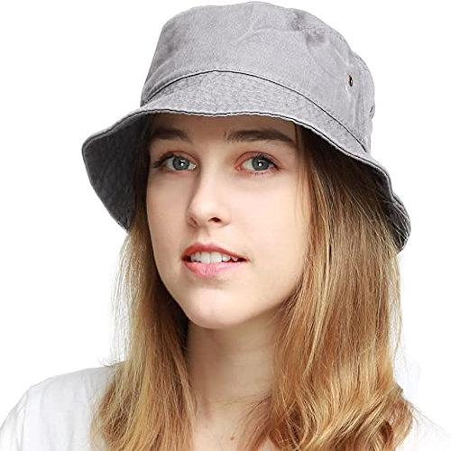 男女防曬遮陽漁夫帽(灰色)