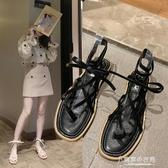2020年新款夏季女鞋小香夾腳涼鞋女仙女風鞋子百搭綁帶羅馬平底鞋  【快速出貨】