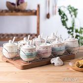 韓版調四件套裝廚房用品陶瓷調味罐 js9011『小美日記』
