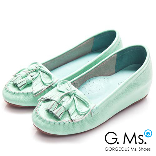 G.Ms. 流蘇蝴蝶結真皮內增高豆豆鞋*薄荷綠