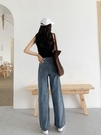 牛仔褲女泫雅拖地牛仔褲女新款秋季高腰寬鬆闊腿垂感直筒老爹褲子春秋 新年禮物