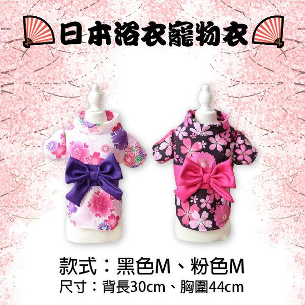攝彩@日本浴衣寵物衣 M號 穿戴方便 愛犬愛貓服飾 日式櫻花和服 大蝴蝶結小碎花 可愛氣質100分