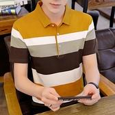 POLO衫 2021新款男士青年條紋Polo衫短袖t恤夏季上衣服潮流翻領半袖體恤【快速出貨】