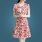 碎花洋裝 波點高檔連衣裙女夏裝2020新款氣質女神范女裝短袖碎花裙夏季裙子 快速出貨